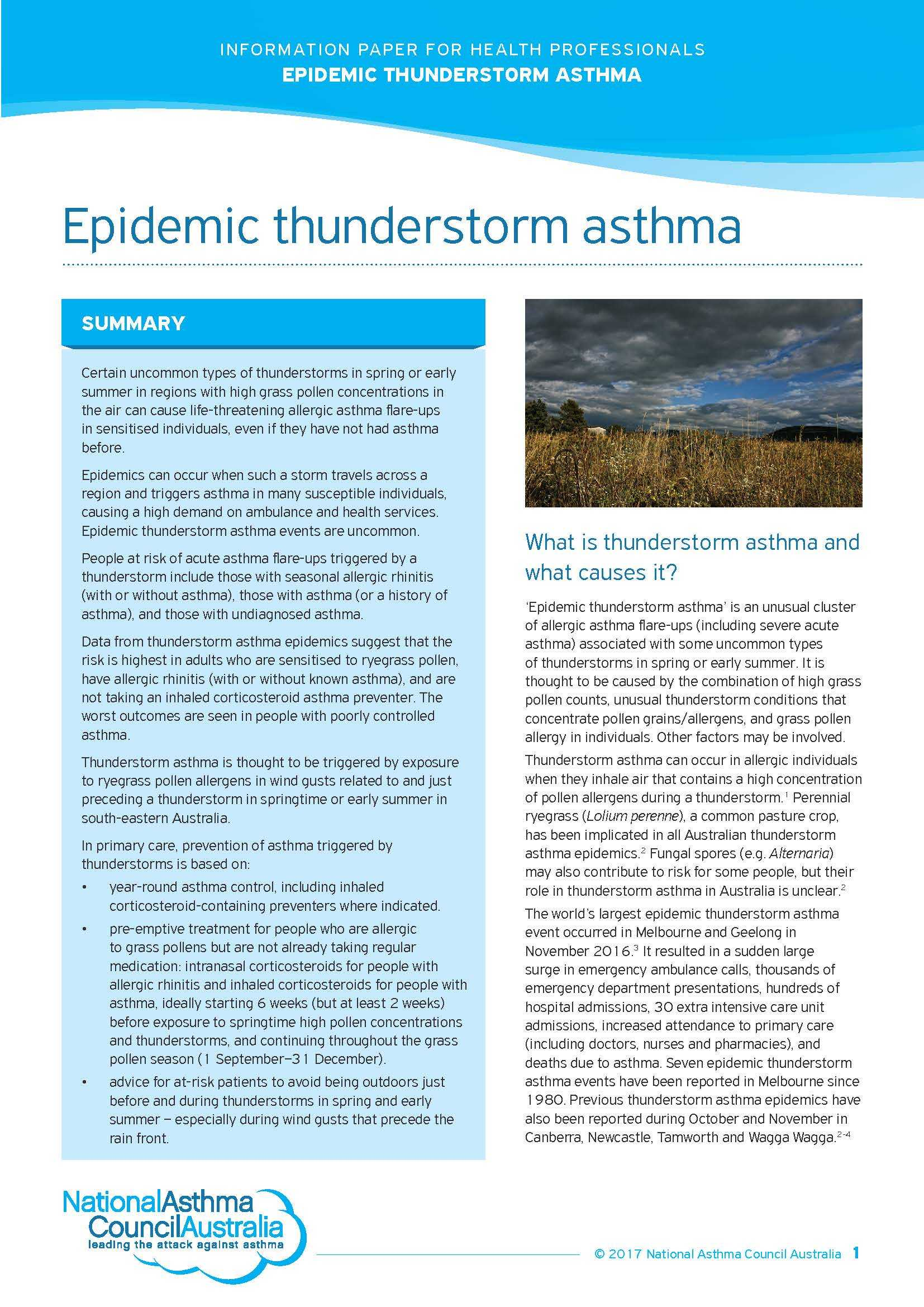 Epidemic thunderstorm asthma information paper